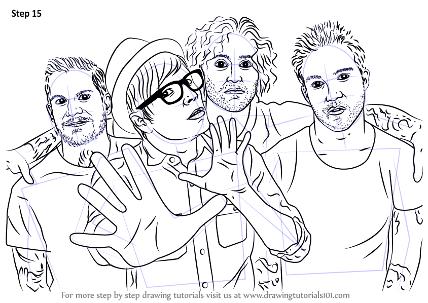 Learn How To Draw Fall Out Boy Musicians Step By Step Drawing