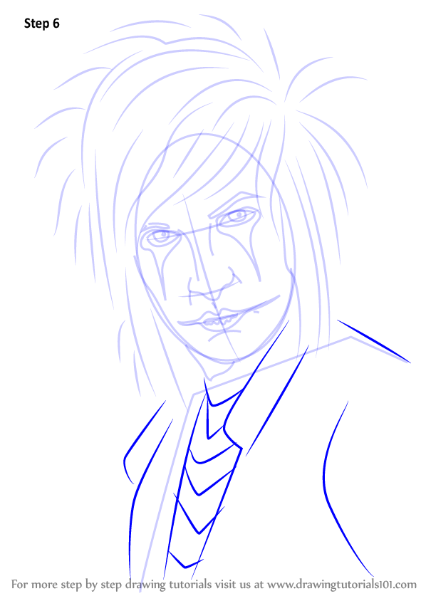 learn how to draw jinxx black  musicians  step by step   drawing tutorials