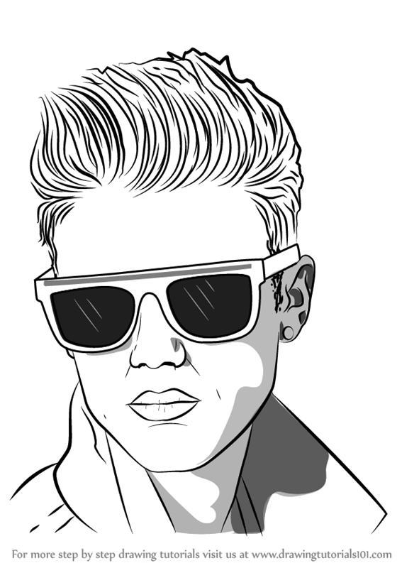 Learn How To Draw Justin Bieber With Sunglasses Musicians Step By