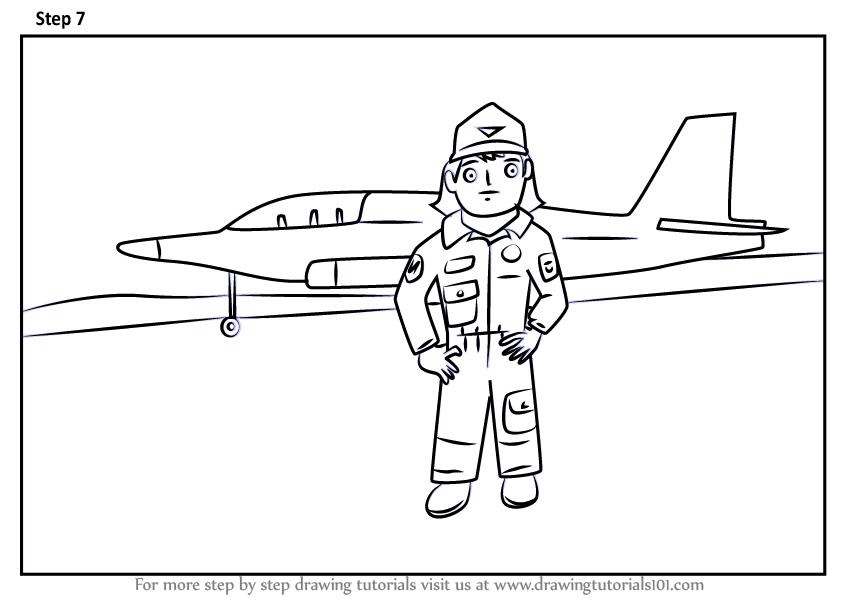 Learn How To Draw An Airforce Pilot For Kids Scene Other