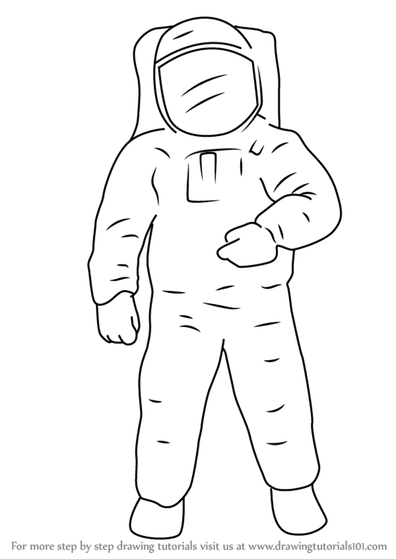 Learn How to Draw an Astronaut (Other Occupations) Step by ...