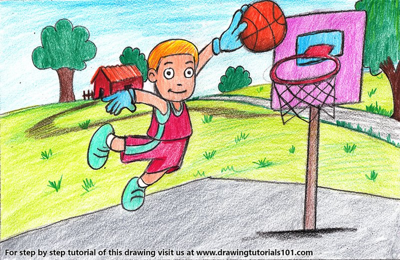 Basket Ball Player for Kids Color Pencil Drawing