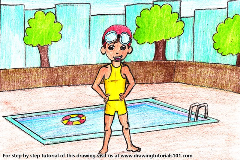 Boy in a Swimsuit Color Pencil Drawing