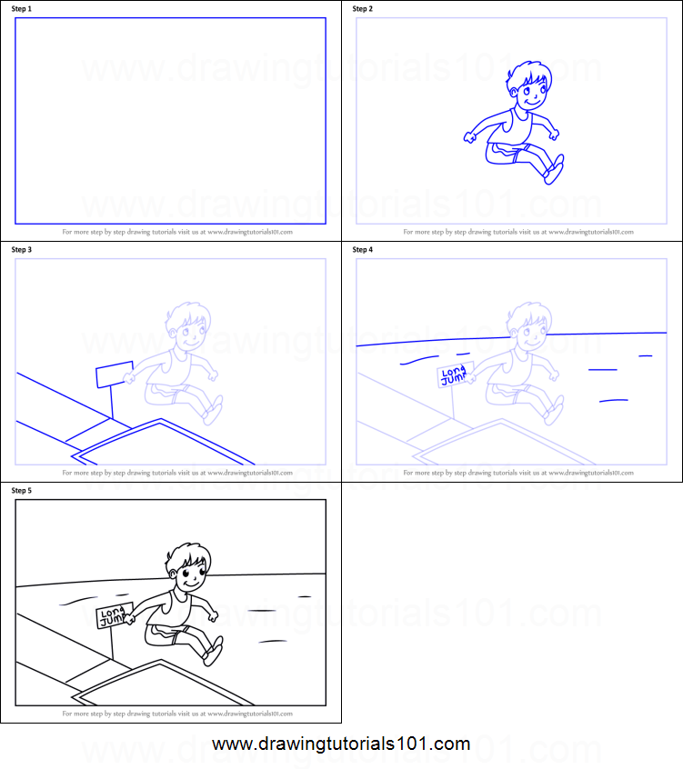 How To Draw A Boy Long Jump Sports Scene Printable Step By Step