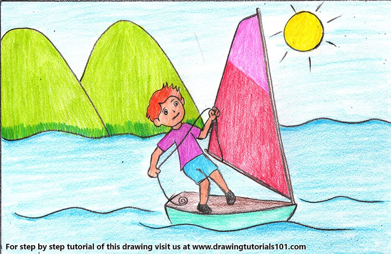 Boy Sailing Scene Color Pencil Drawing
