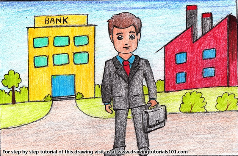 Businessmen with Briefcase Scene Color Pencil Drawing