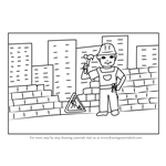 How to Draw a Construction Worker Scene