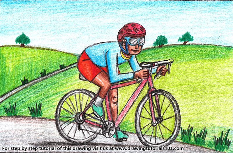 Cyclist Scene Drawing Colored Pencils - Drawing Cyclist Scene ...