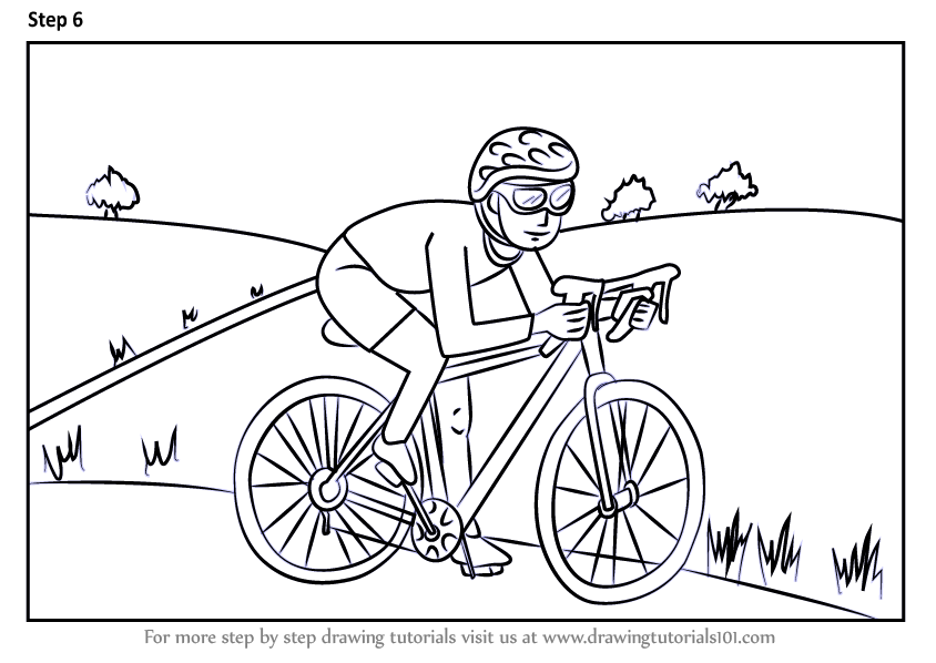 how to draw a cyclist step by step