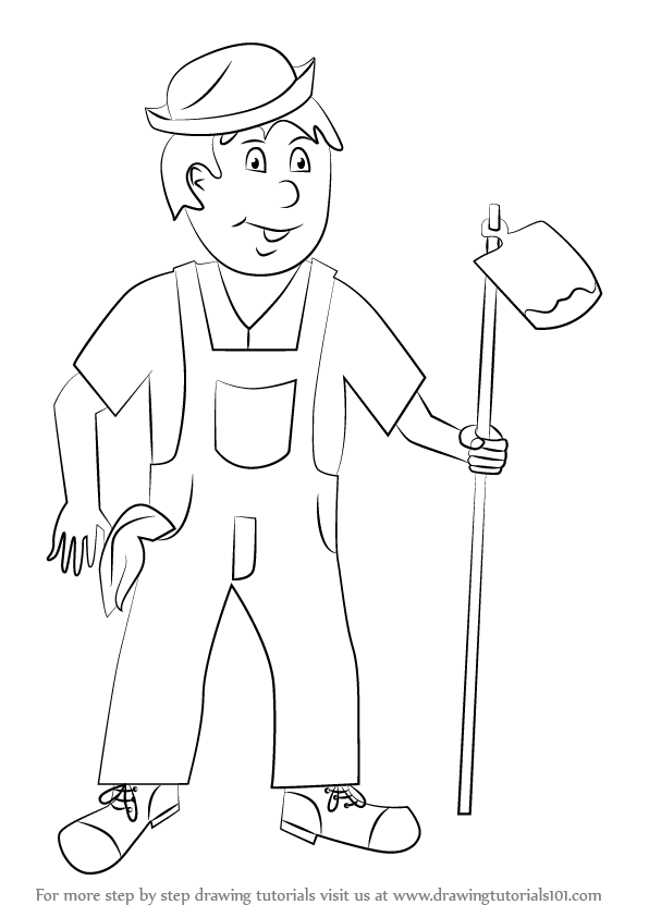 Learn how to draw a farmer for kids other occupations step by step drawing tutorials