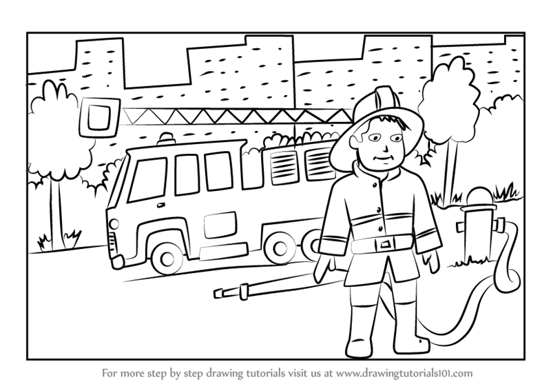learn how to draw a firefighter with fire truck other occupations