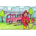 How to Draw a Firefighter with Fire truck
