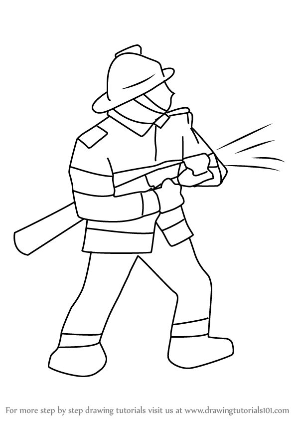 learn how to draw a firefighter other occupations step by step drawing tutorials