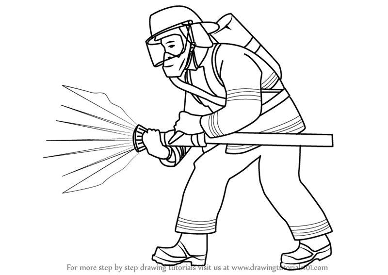 Kleurplaat Free Running Learn How To Draw A Fireman Other Occupations Step By