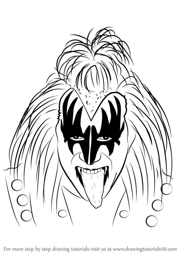 learn how to draw gene simmons other occupations step by