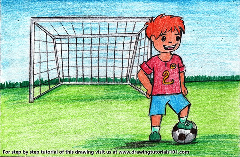 Goal Keeper for Kids Color Pencil Drawing