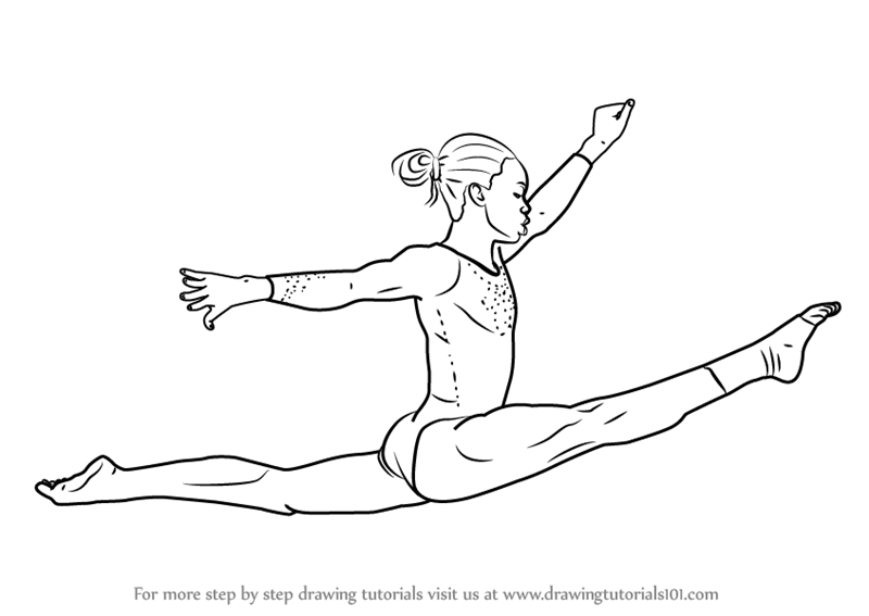 Step By Step How To Draw A Gymnast DrawingTutorials101