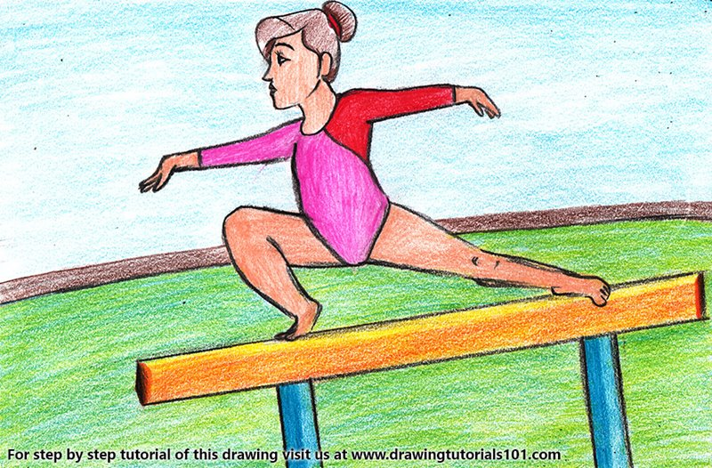 Gymnastic Girl Color Pencil Drawing