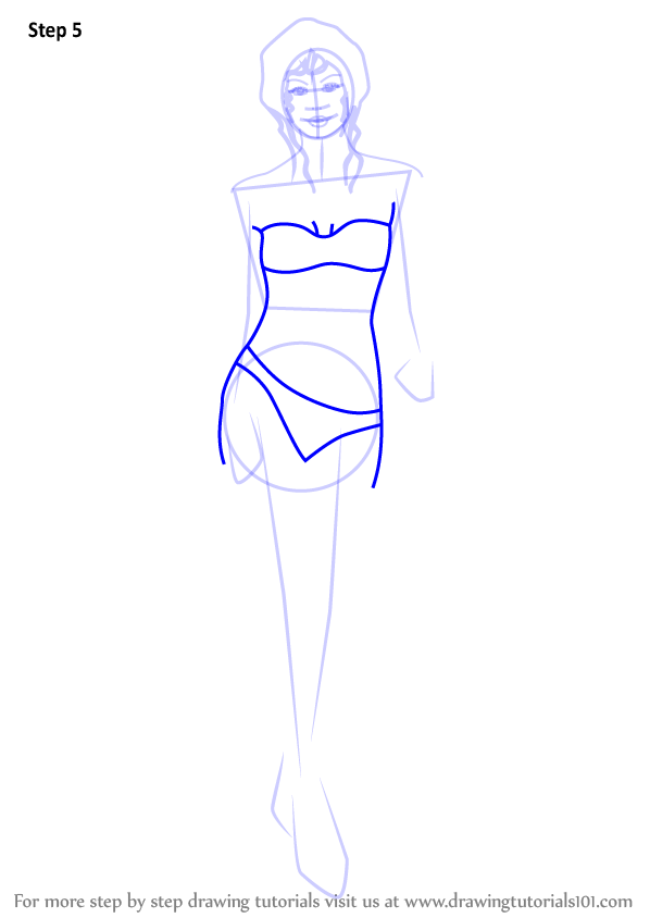 how to draw a bikini top 3 4 view