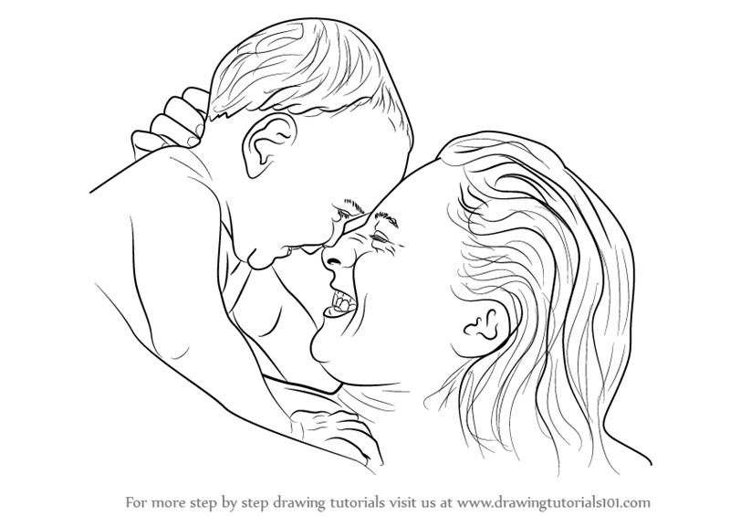learn how to draw mother holding infant other people step by step drawing tutorials