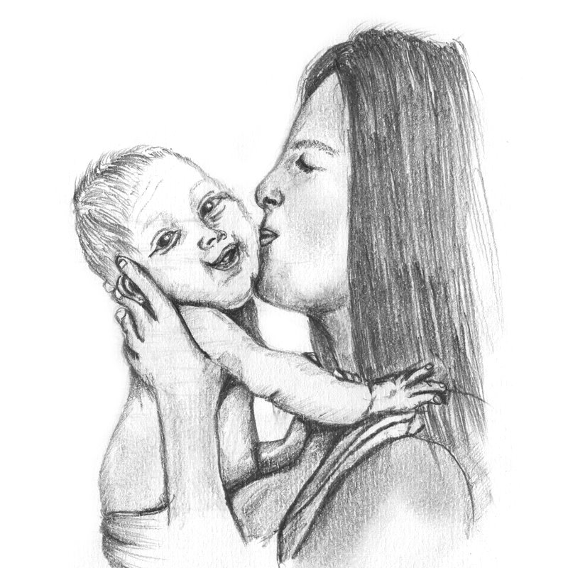 Mother kissing baby pencil drawing how to sketch mother kissing baby using pencils drawingtutorials101 com