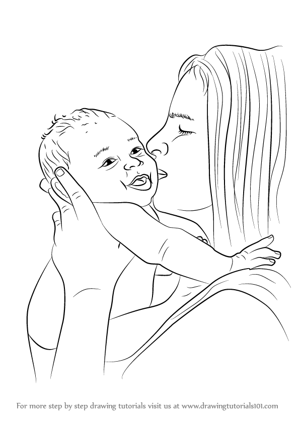 Learn How To Draw Mother Kissing Baby Other People Step By Step Drawing Tutorials