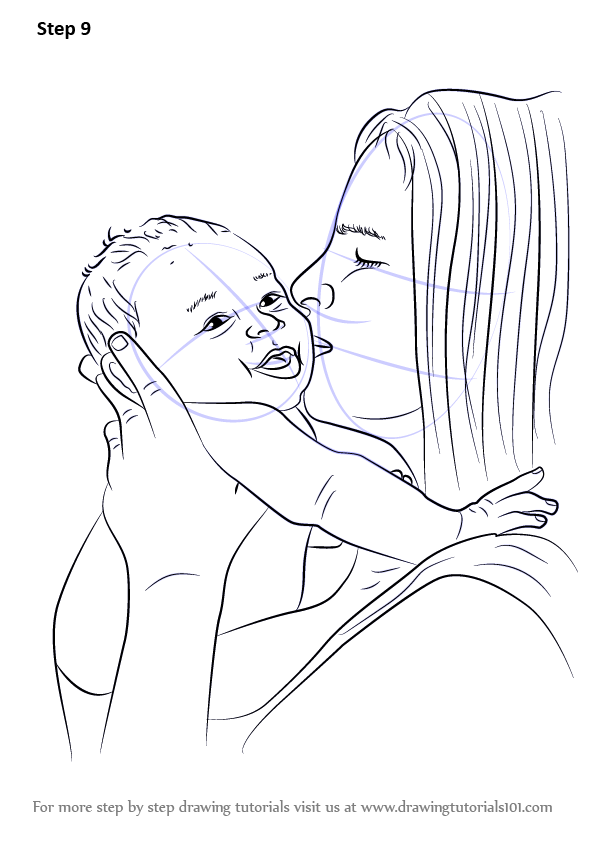 Learn How To Draw Mother Kissing Baby  Other People  Step