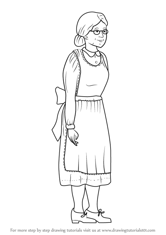 learn how to draw an old woman other people step by step
