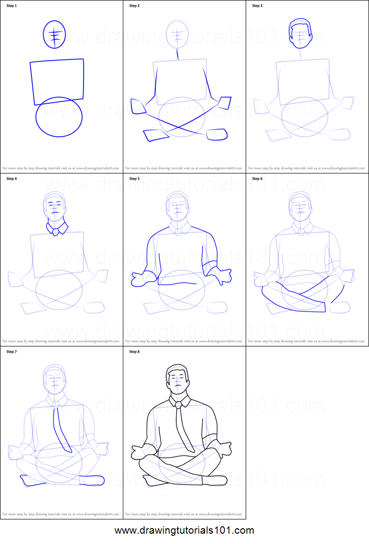 Step by step drawing tutorial on how to draw person meditating