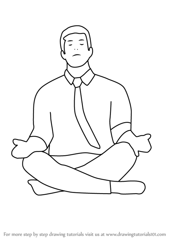Learn How To Draw Person Meditating Other People Step By Step