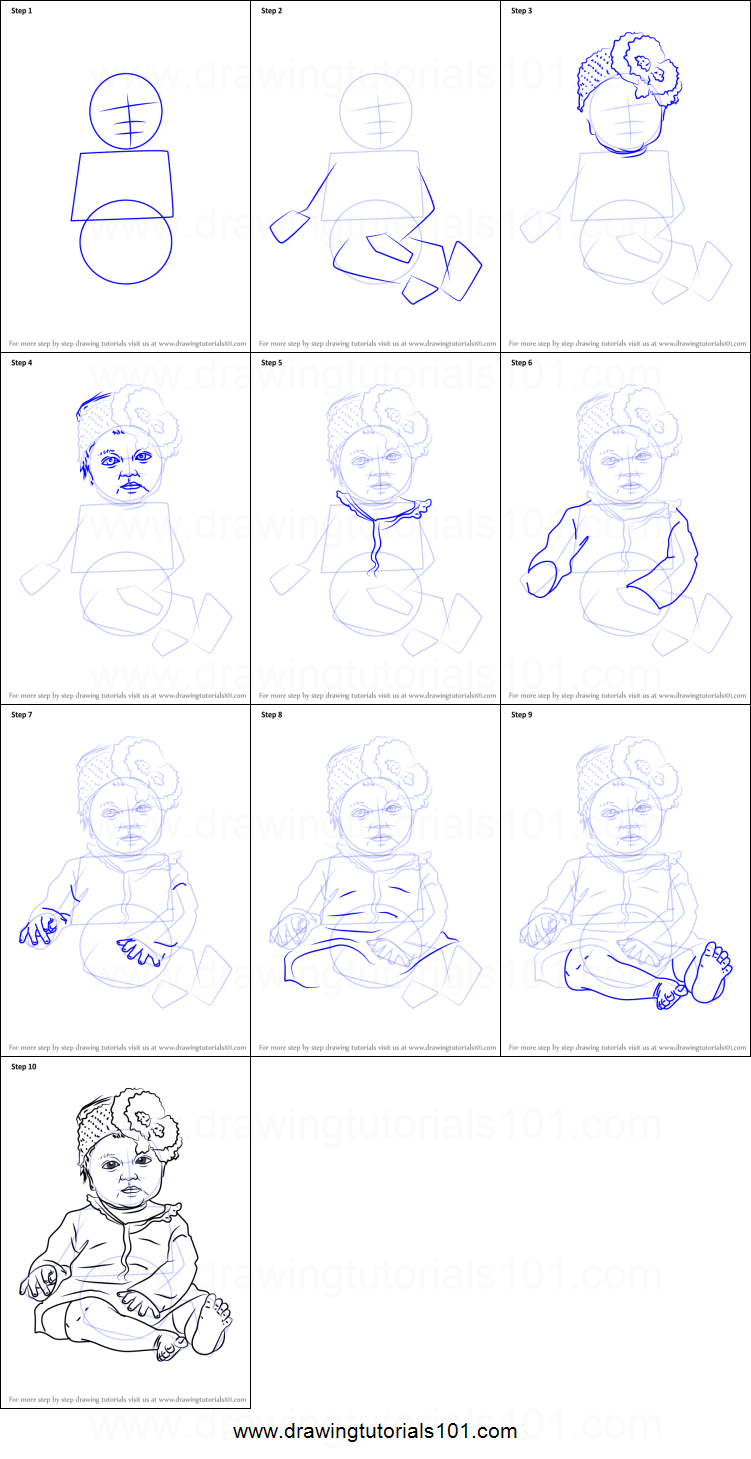 How to Draw Sitting Baby Girl printable step by step ...