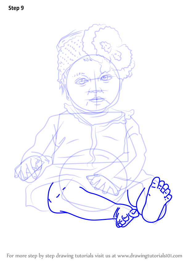learn how to draw sitting baby girl  other people  step by