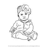 How to Draw Sitting Baby Girl