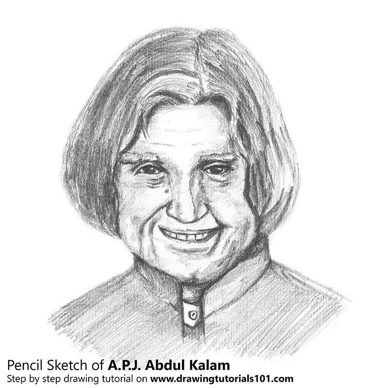 Apj abdul kalam pencil drawing how to sketch apj abdul kalam using pencils drawingtutorials101 com