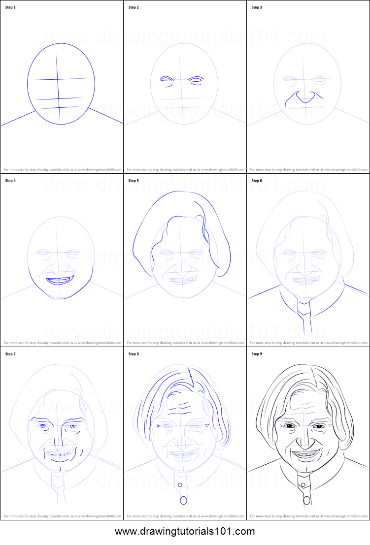 Step by step drawing tutorial on how to draw apj abdul kalam