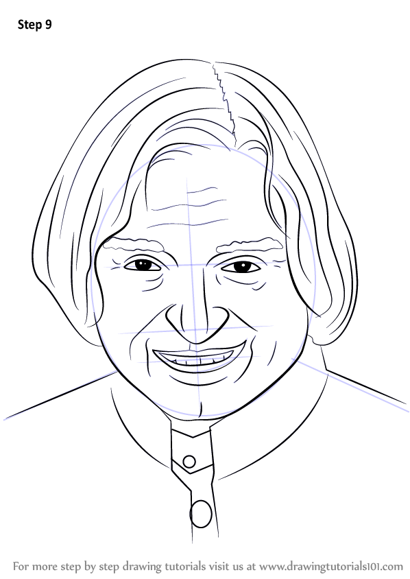 learn how to draw apj abdul kalam politicians step by step drawing tutorials - Outline Drawing For Kids