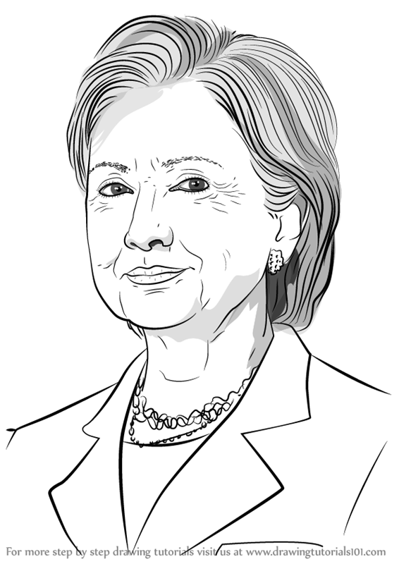 Excellent Learn How to Draw Hilary Clinton (Politicians) Step by Step  BV06