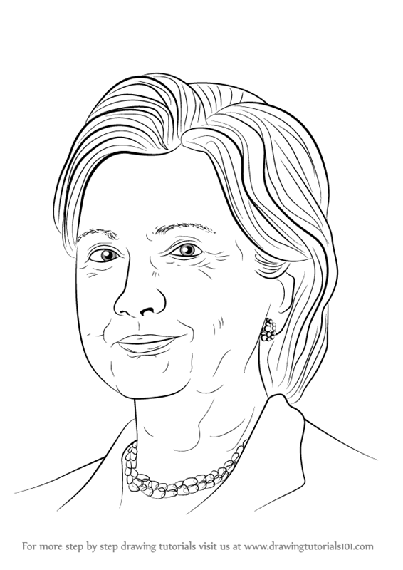 Perfect Learn How to Draw Hillary Clinton (Politicians) Step by Step  ZL54