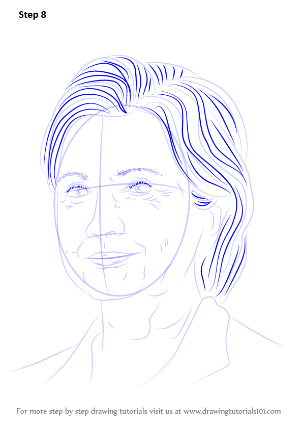 Lovely Learn How to Draw Hillary Clinton (Politicians) Step by Step  QG88