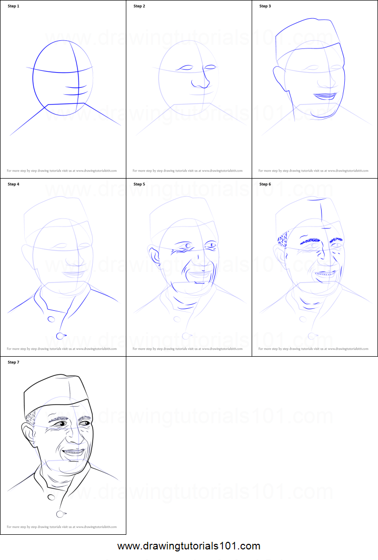How to draw jawaharlal nehru printable step by step drawing sheet