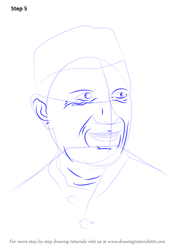 Learn How To Draw Jawaharlal Nehru (Politicians) Step By Step  Drawing Tutorials