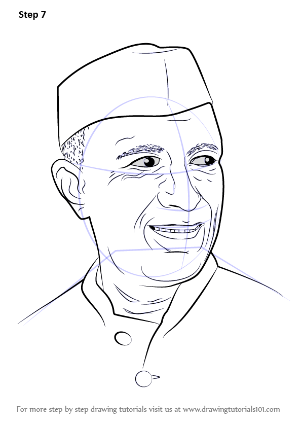 Learn How To Draw Jawaharlal Nehru (Politicians) Step By ...