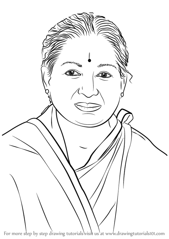 Learn How To Draw Jayalalithaa Politicians Step By Step Drawing Tutorials