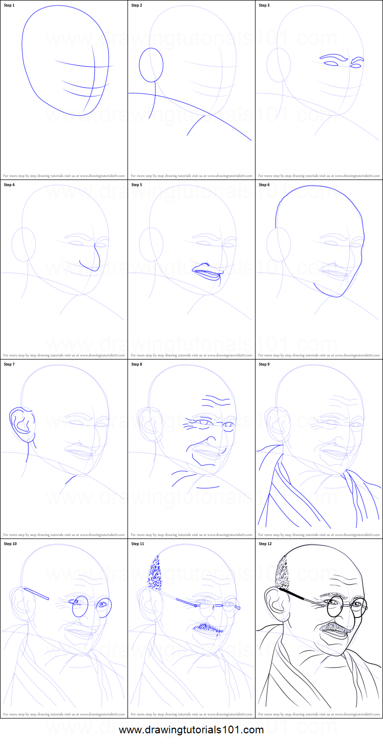 Step by step drawing tutorial on how to draw mahatma gandhi
