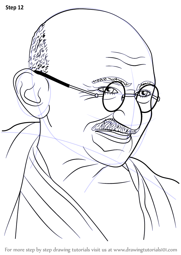 Gandhi Pencil Drawing Step By Step