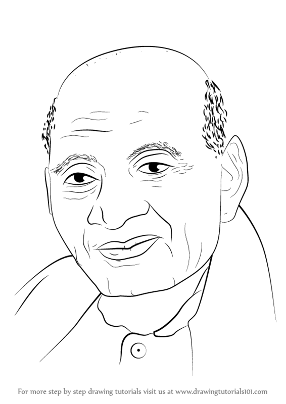 Learn How To Draw Sardar Vallabhai Patel (Politicians) Step By Step  Drawing Tutorials