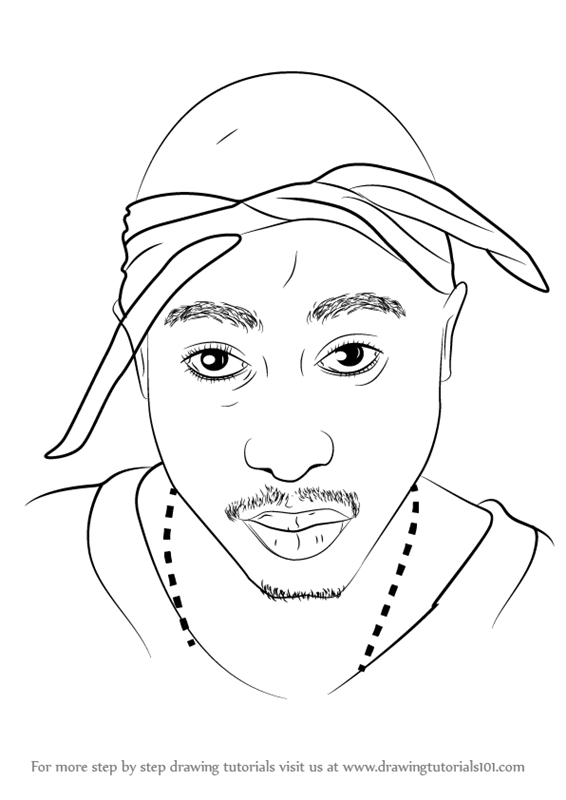 Step by step how to draw 2pac for Rapper coloring pages