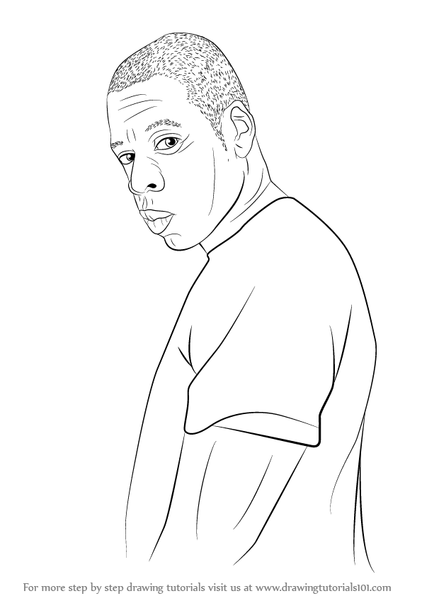 learn how to draw jay z rappers step by step drawing