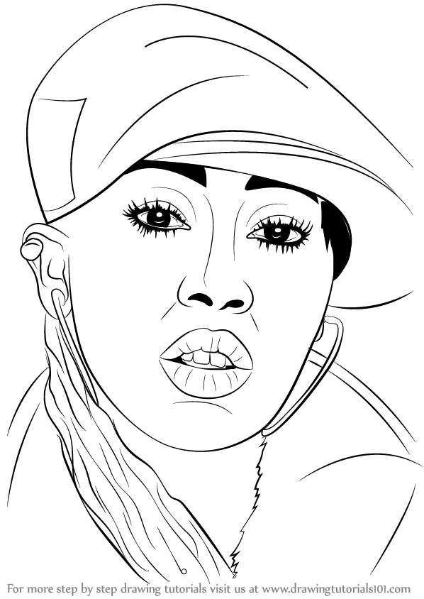 learn how to draw missy elliott rappers step by step