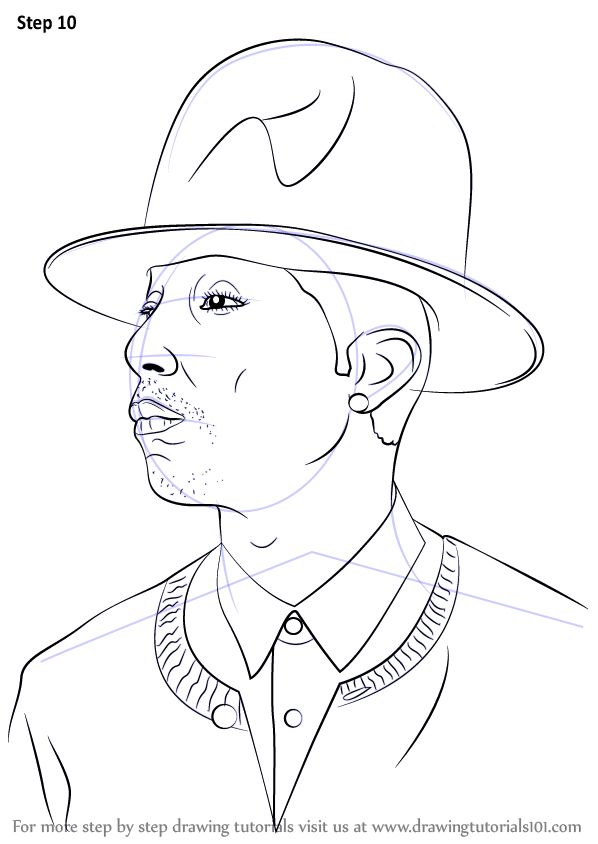 learn how to draw pharrell williams  rappers  step by step   drawing tutorials